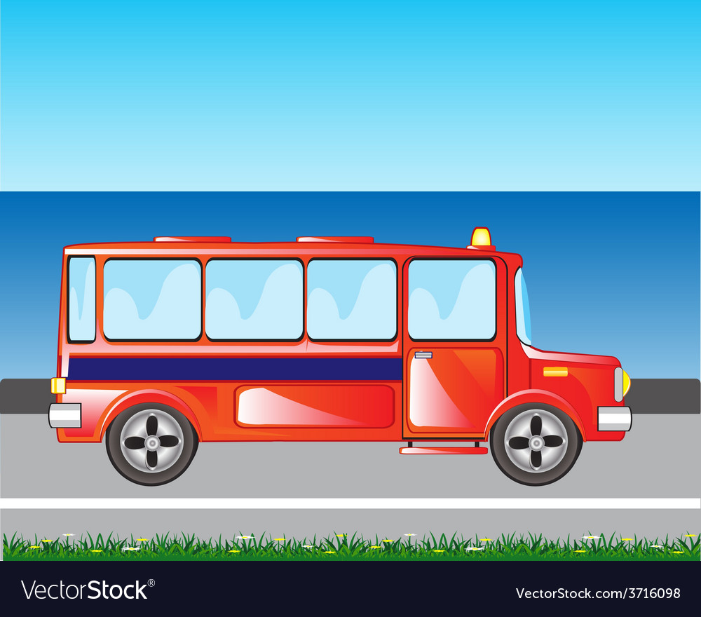 Red bus on road vector | Price: 1 Credit (USD $1)