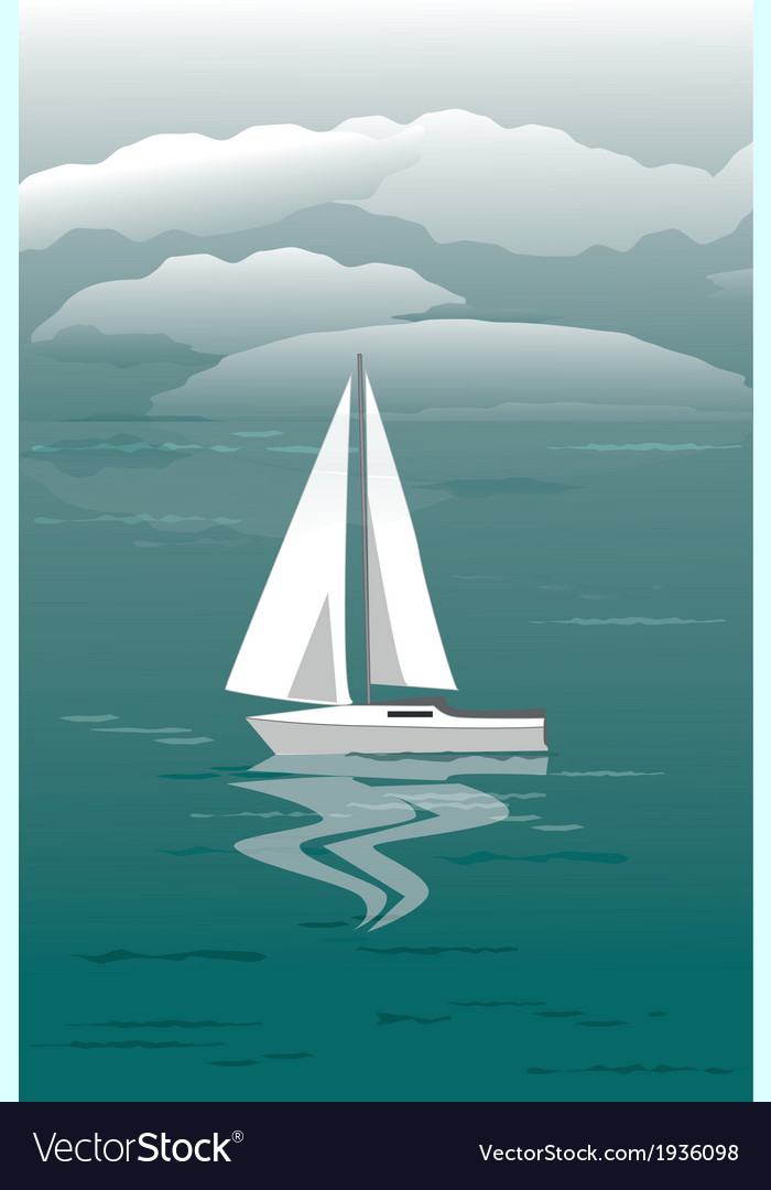 Seascape with sailboat vector | Price: 1 Credit (USD $1)