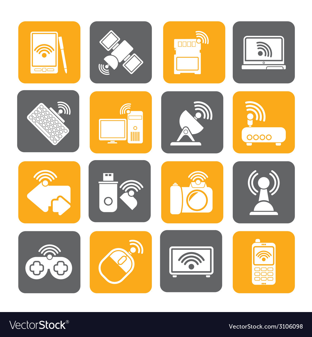 Silhouette wireless and communications icons vector | Price: 1 Credit (USD $1)
