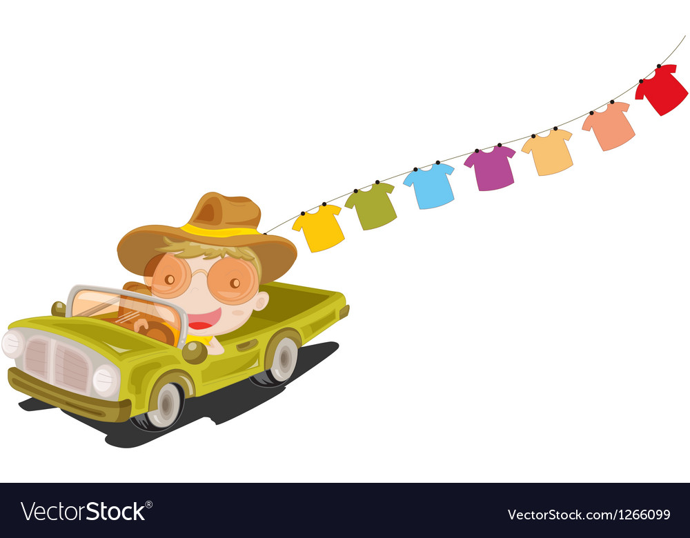 A man in a car in front of the hanging clothes vector | Price: 1 Credit (USD $1)