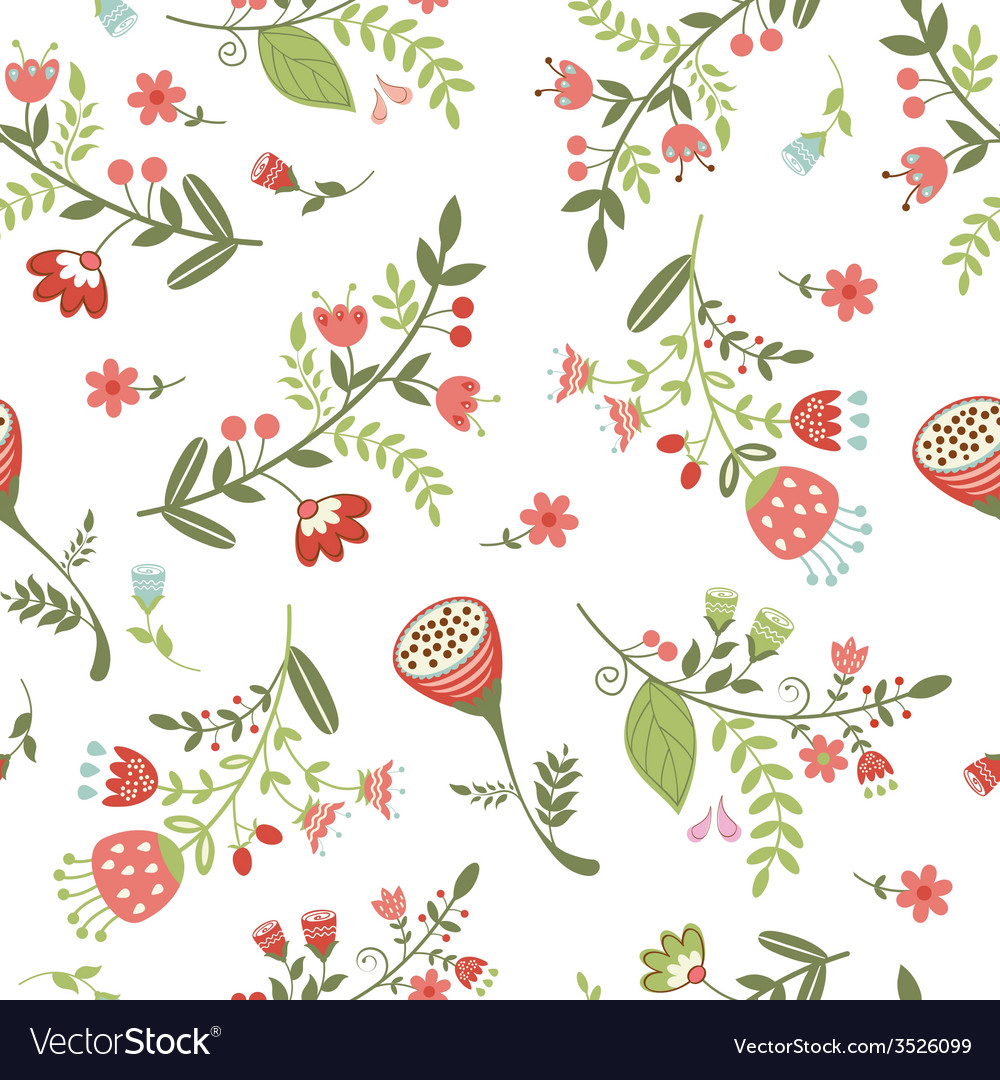 Beautiful seamless floral pattern vector | Price: 1 Credit (USD $1)