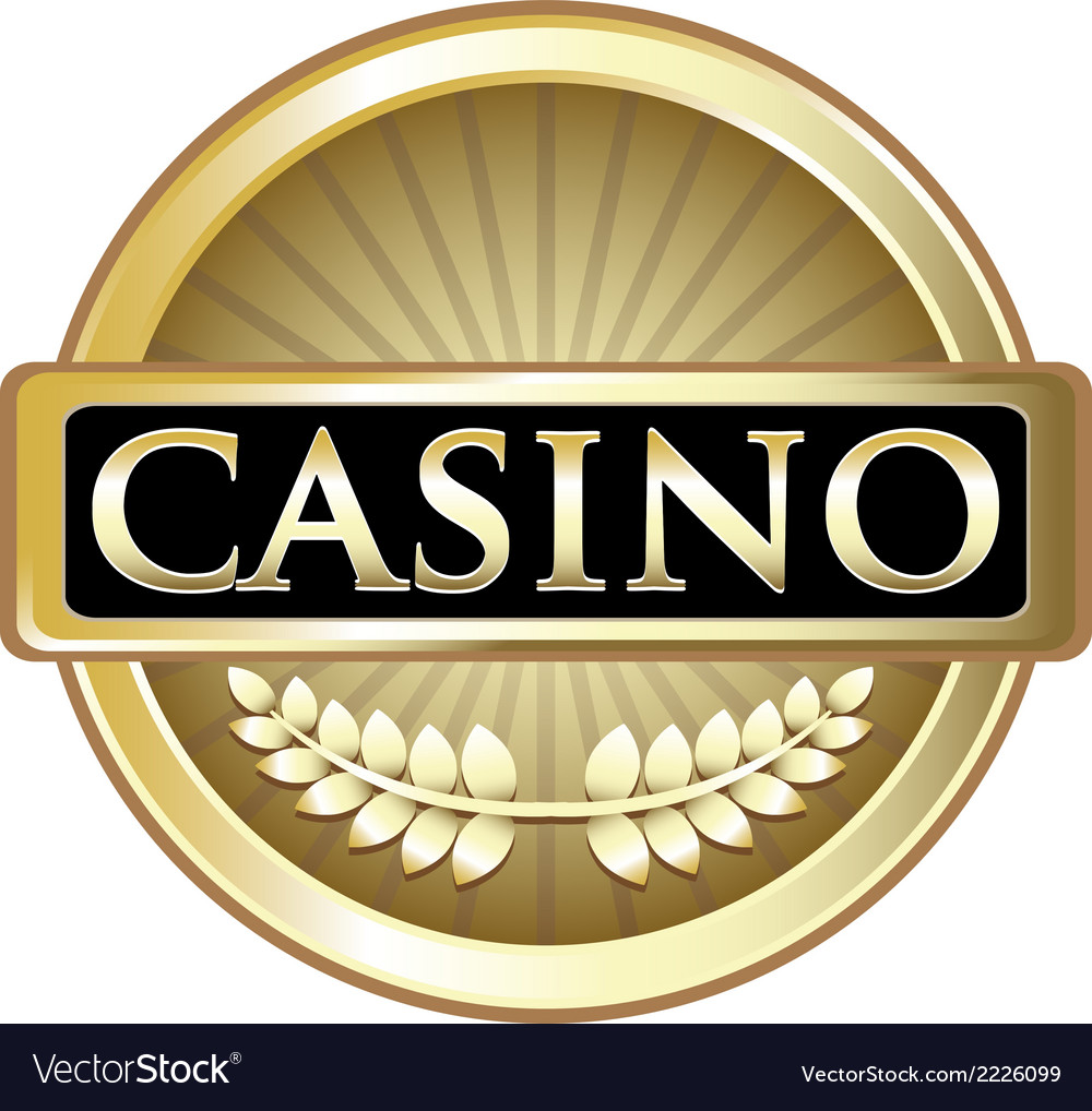 Casino gold label vector | Price: 1 Credit (USD $1)