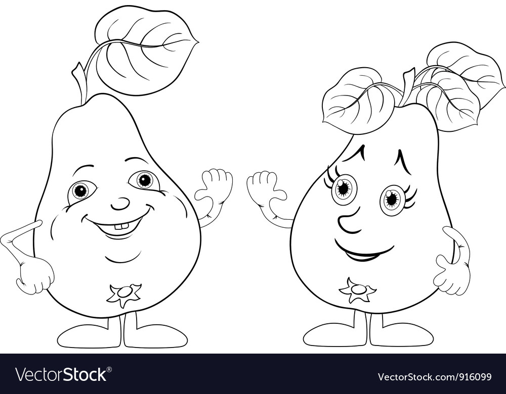 Character pears outline vector | Price: 1 Credit (USD $1)