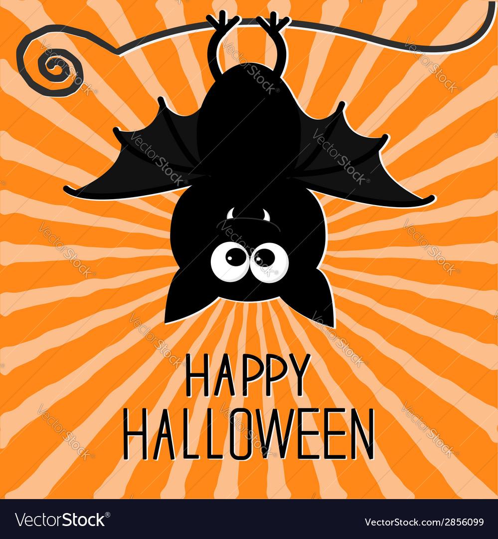 Cute bat sunburst background happy halloween card vector | Price: 1 Credit (USD $1)