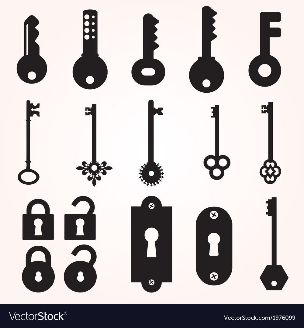 Icon key black silhouette decorative items vector | Price: 1 Credit (USD $1)