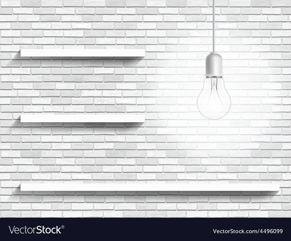 Lamp and shelves on the brick wall background vector | Price: 1 Credit (USD $1)
