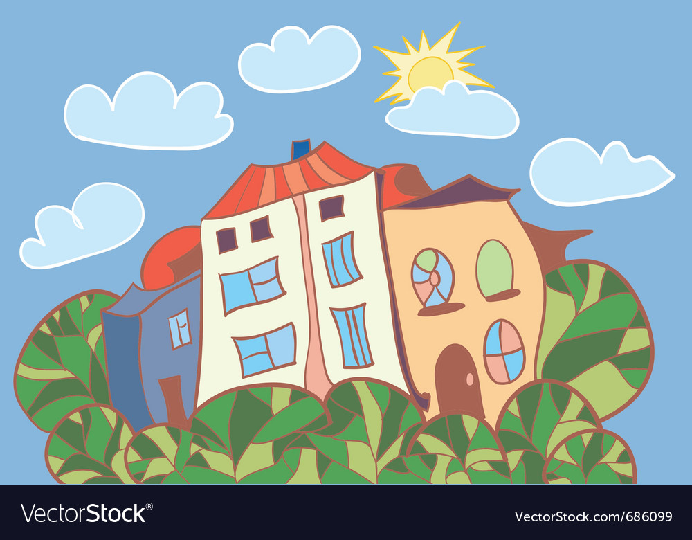 Little cartoon houses vector | Price: 1 Credit (USD $1)