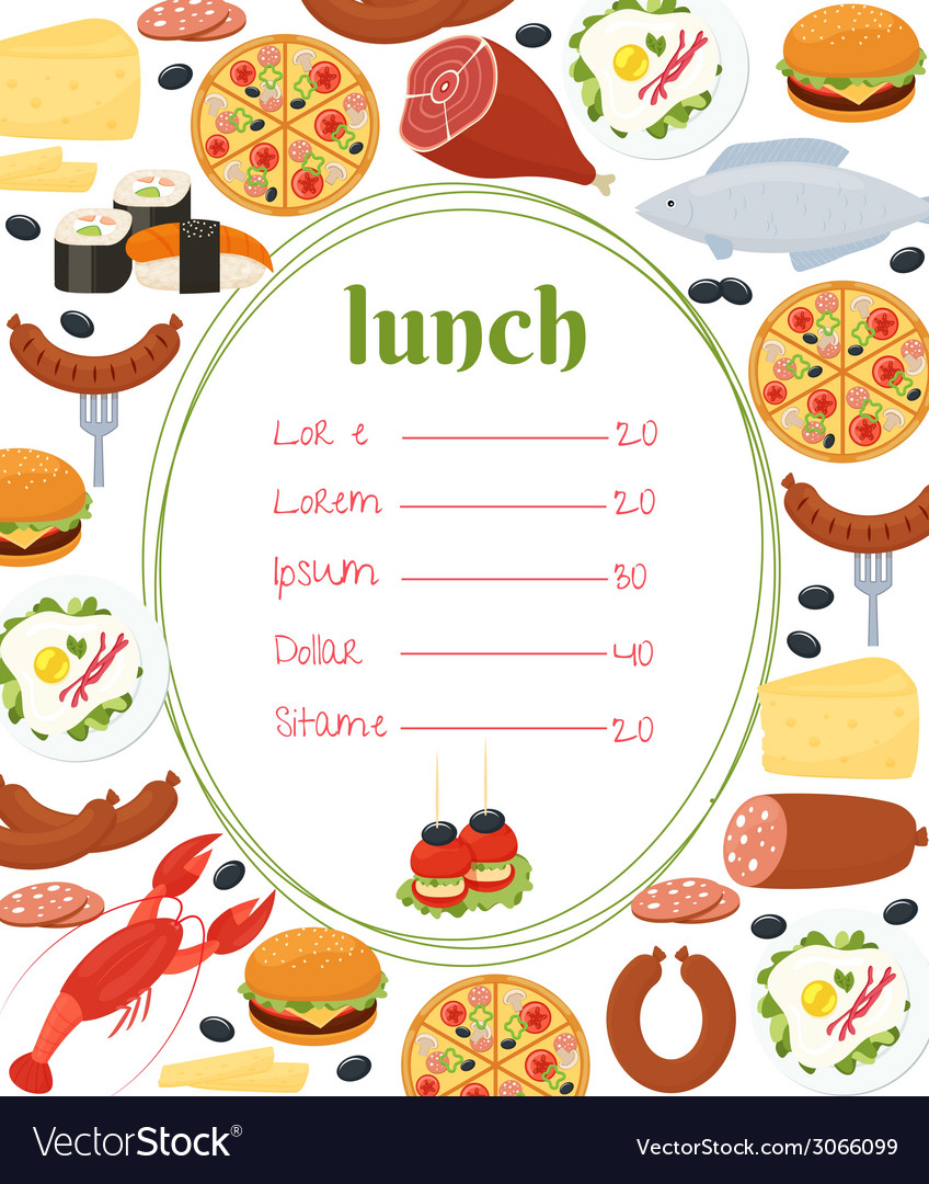 Lunch menu template vector | Price: 1 Credit (USD $1)
