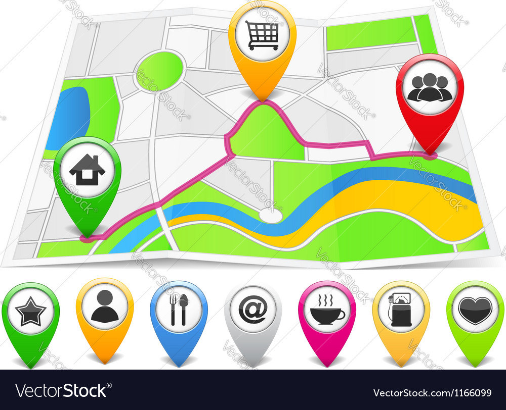 Map with map pins vector | Price: 1 Credit (USD $1)