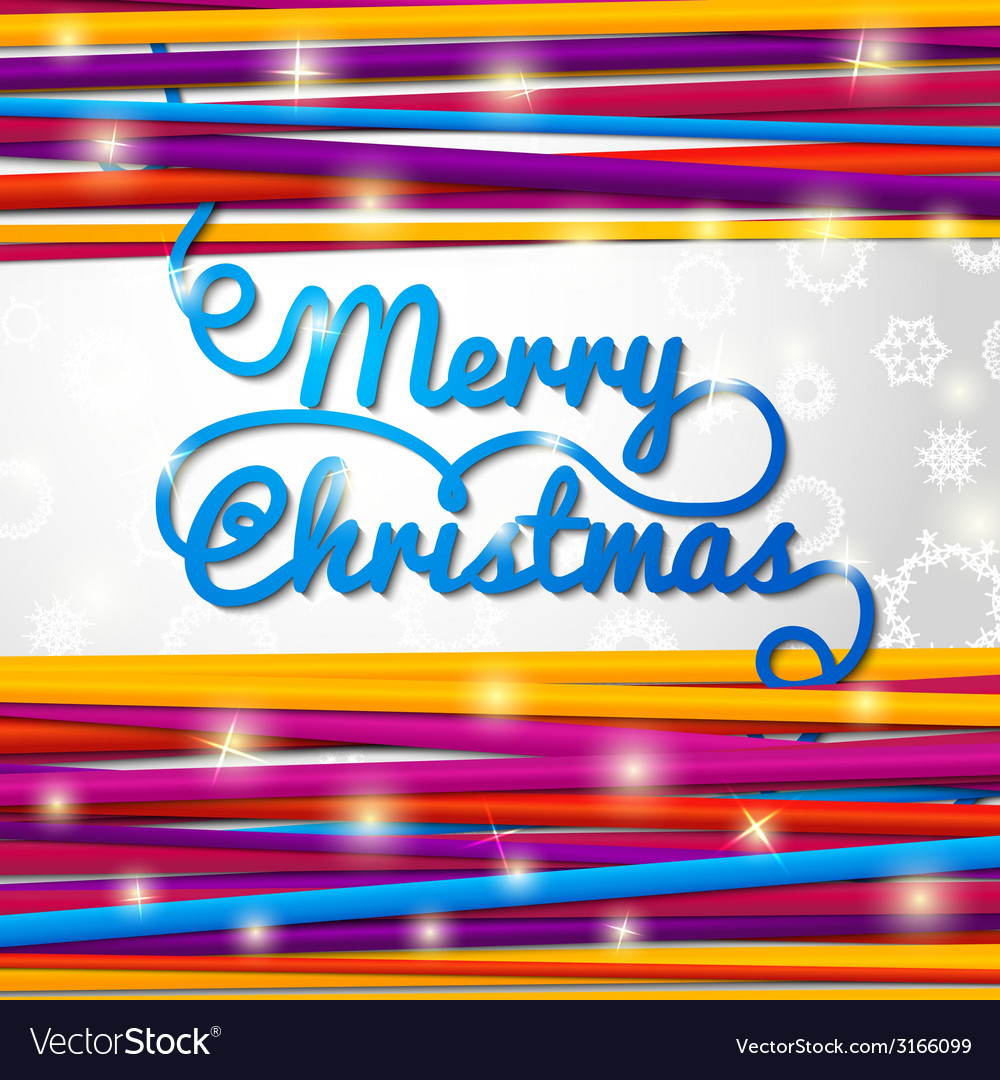 Merry christmas handwritten blue swirl lettering vector | Price: 1 Credit (USD $1)