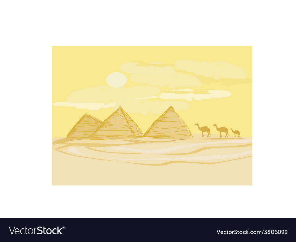 Pyramids giza and camels silhouette on desert vector | Price: 1 Credit (USD $1)
