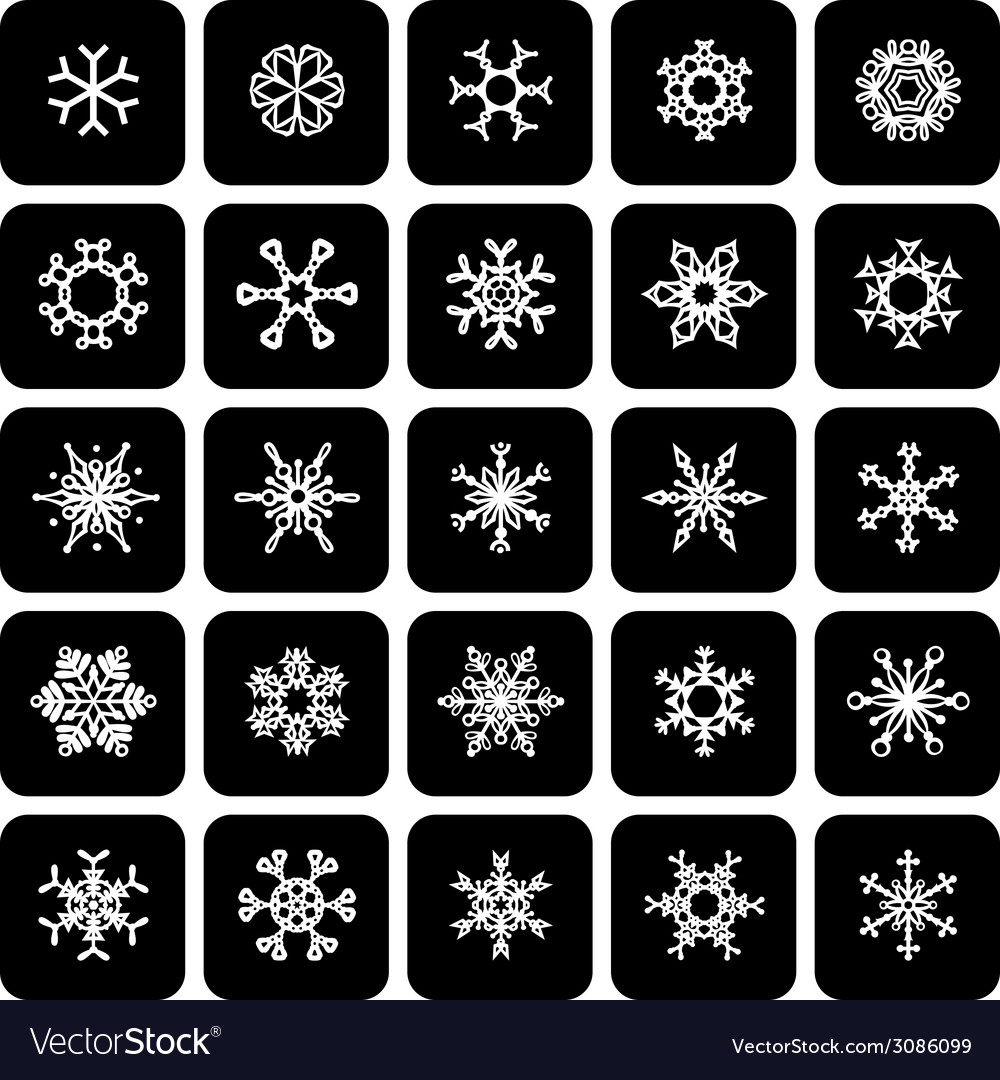 Set of square black and white snowflake icons vector | Price: 1 Credit (USD $1)