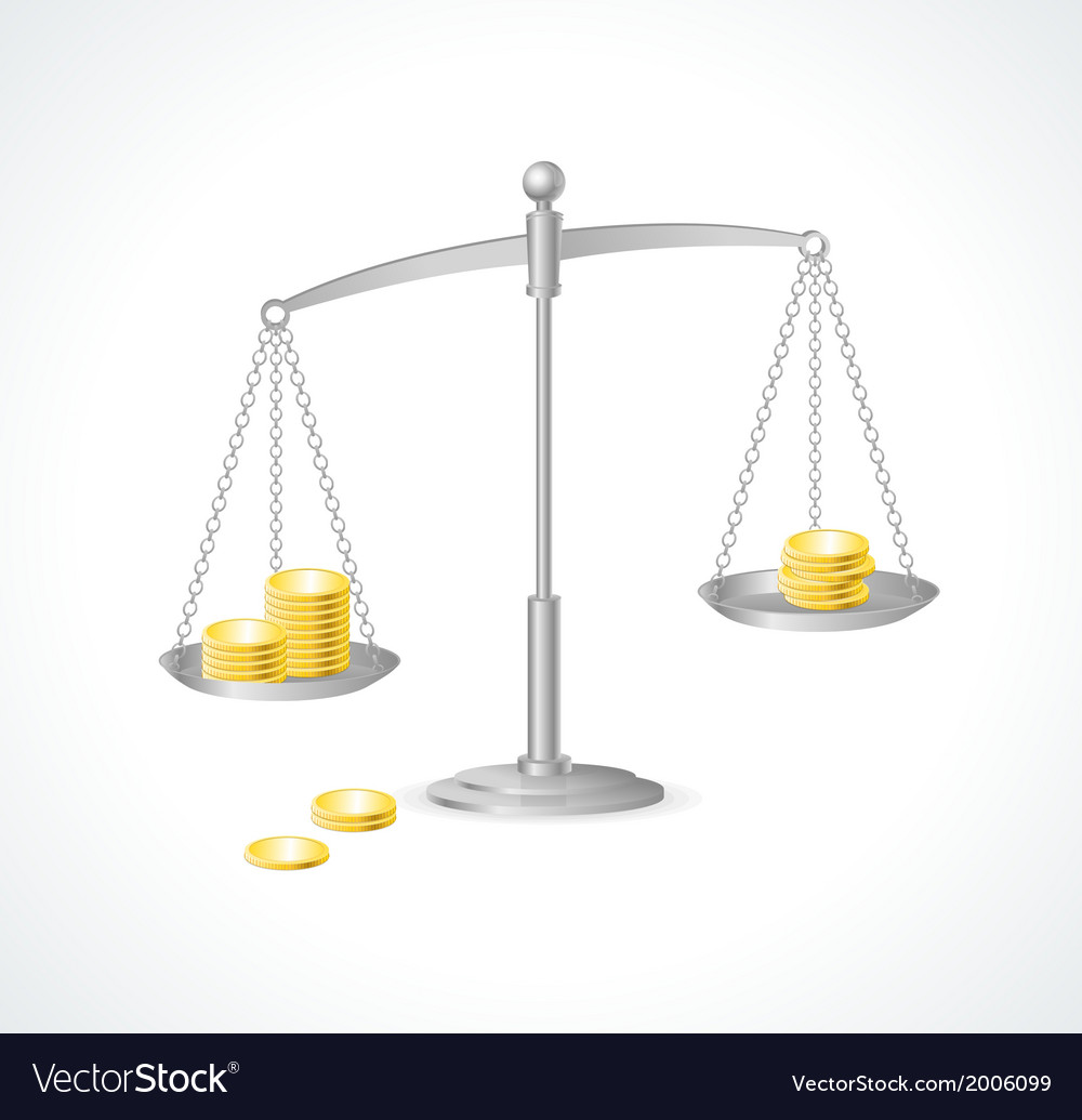 Silver justice scales and money vector | Price: 1 Credit (USD $1)