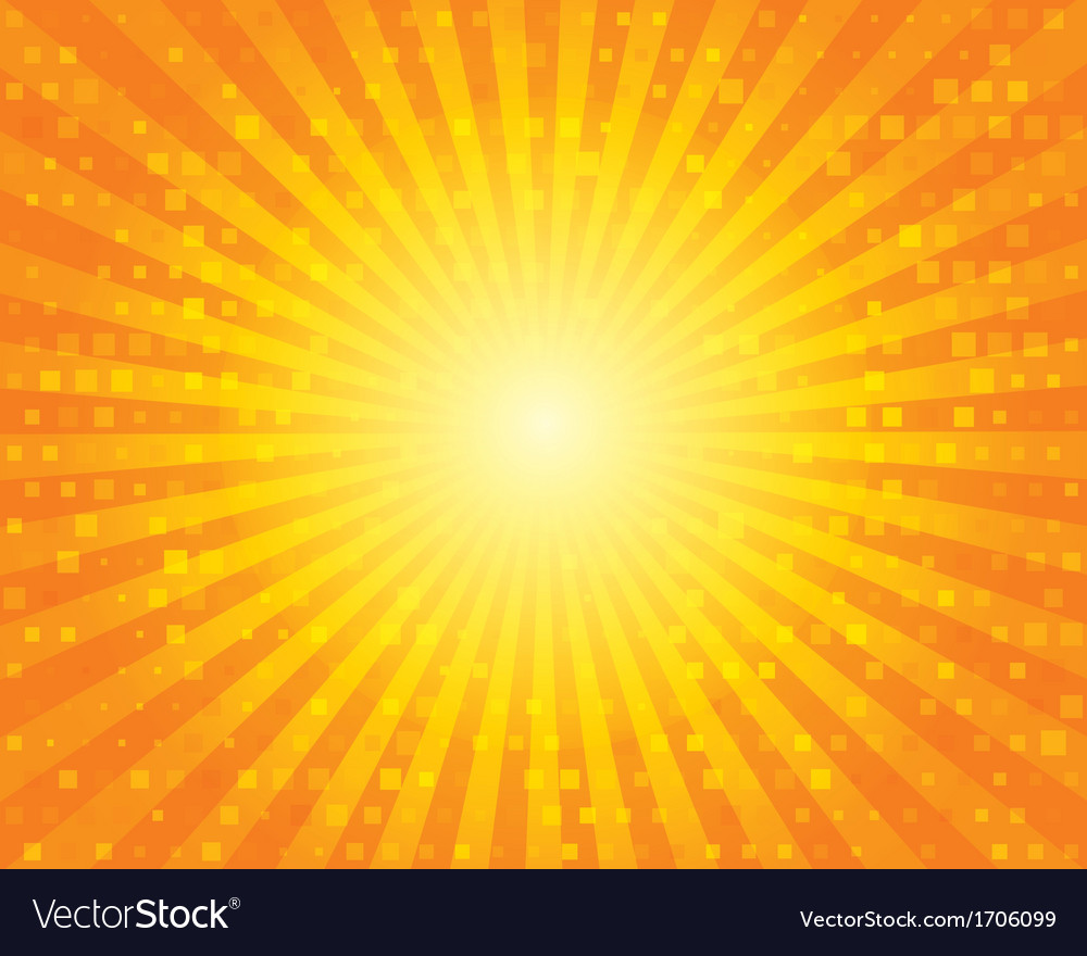 Sun sunburst pattern with squares orange sky vector | Price: 1 Credit (USD $1)