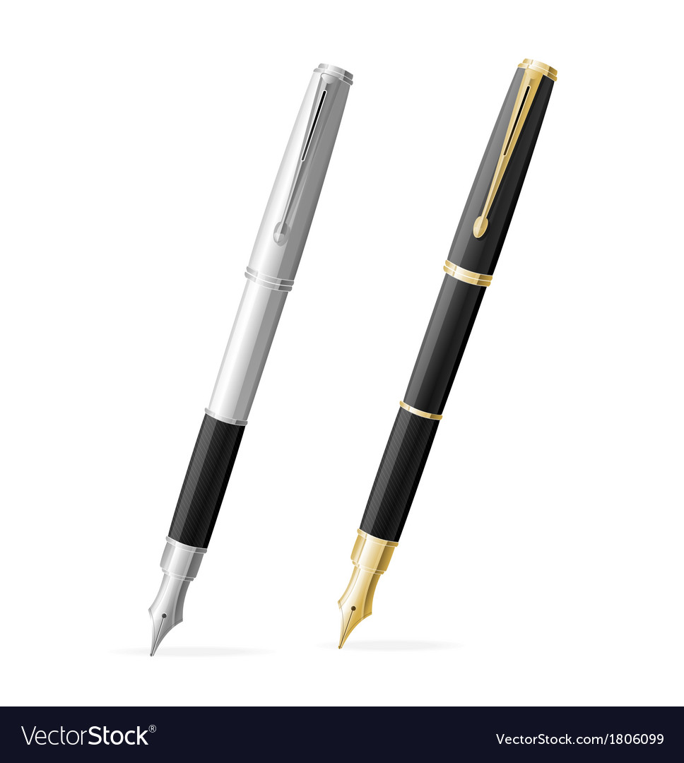 Two fountain pens isolated gold and silver vector | Price: 1 Credit (USD $1)