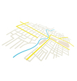 Streets on the city plan - in perspective vector