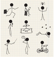 Stick man figure hand drawn daily life vector