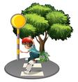 A boy skateboarding near the tree vector