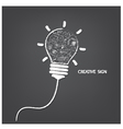 Creative light bulb handwriting style vector