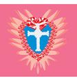 Diamond cross religious and ruby heart vector