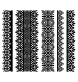Set of black lace borders isolated on white vector