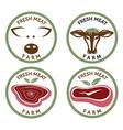 Fresh meat vintage labels set vector