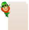 Leprechaun looking at blank poster vector
