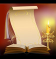 Book with burning candle vector