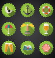 Summer sea travel weekend trip flat icon set vector