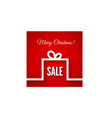 Abstract christmas gift box in flat style on red vector