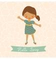 Hello spring card with cute little girl vector
