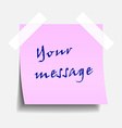 Taped pink note paper vector