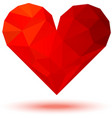 Geometric red 3d valentine heart vector