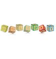 Word holiday written with alphabet blocks vector