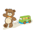 Teddy bear toy pulling a bus vector