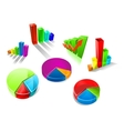 Set of colorful 3d graphs and charts vector