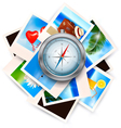 Background with travel photos and compass vector
