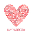 Valentines day red floral card vector