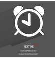Alarm clock flat modern web button with long vector