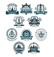 Marine emblems and banners vector