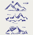 Various high mountain peaks vector