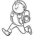 Boy grade student coloring page vector