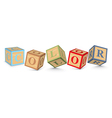 Word color written with alphabet blocks vector
