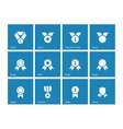 Medal and awards icons on blue background vector