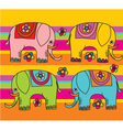 Funny color elephants vector
