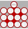 2013 red circles calendar vector