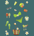 Beach set icons vector