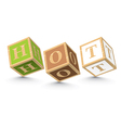 Word hot written with alphabet blocks vector