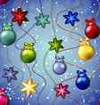 New year pattern with christmas tree toys ball and vector