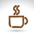 Hand drawn coffee cup icon brush drawing cafe sign vector